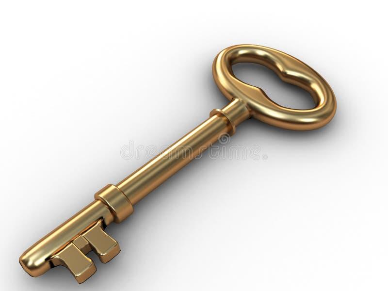 Old gold skeleton key stock illustration