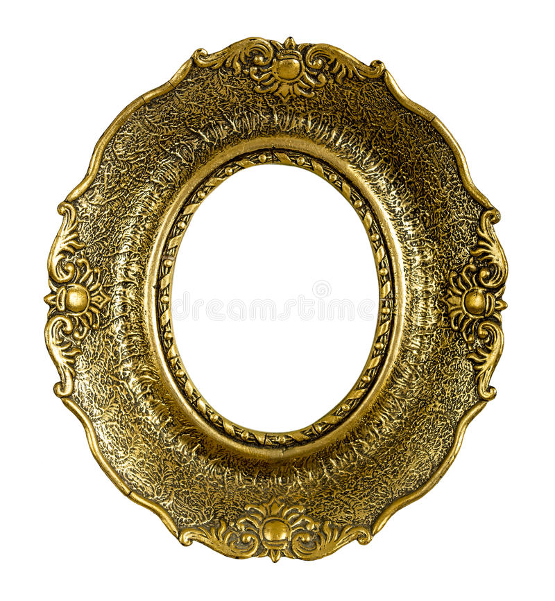Old Gold Vintage Picture Frame Isolated On White Stock Images