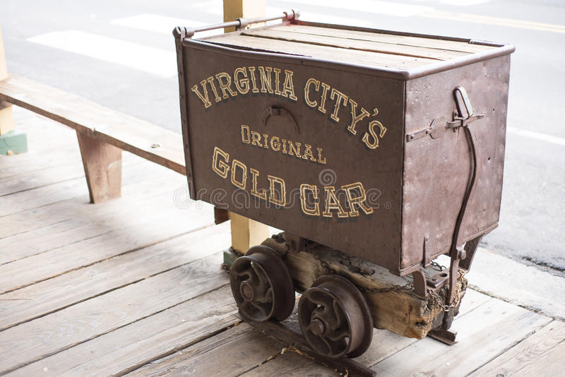 Old Gold Wagon. Old historic gold wagon car displayed at historic Virginia City royalty free stock photos
