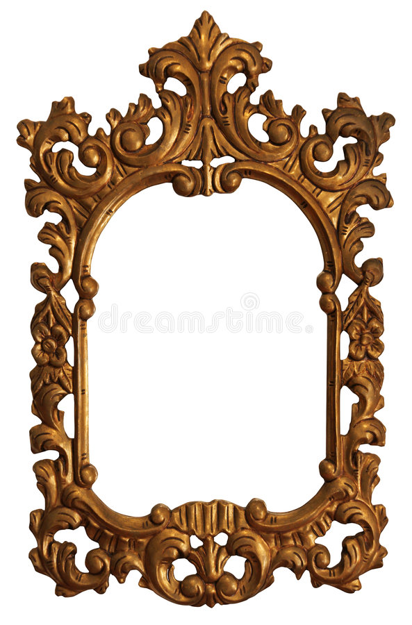 Old Gold Wood Mirror Frame with Ornaments. Baroque Gold Mirror / Picture Frame with Ornaments to put your owns pictures on it. File contains clipping path stock photography