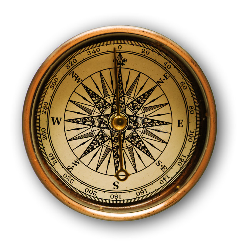 Download Old golden compass stock image. Image of isolated, antique - 5362461