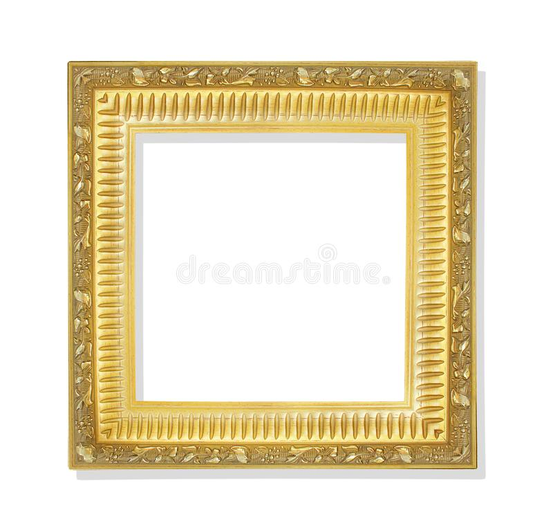 Old golden frame with flower patterns isolated on white background and clipping path royalty free stock image