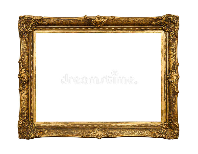 Old golden retro mirror frame, isolated on white. Old golden retro mirror frame (No#20) isolated on white background (detailed clipping paths included stock photo