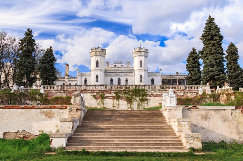 Old gothic castle Sharovka in Kharkiv region, Ukraine. Sharovka fort is famous tourist destination, it was created by landowner Ol. 'hovski stock photography
