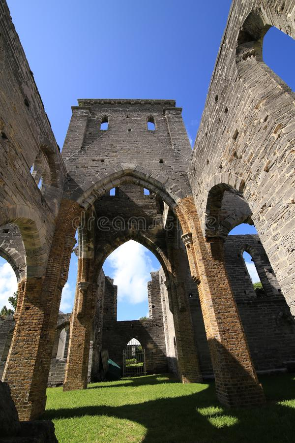Old Gothic church in ruins stock image