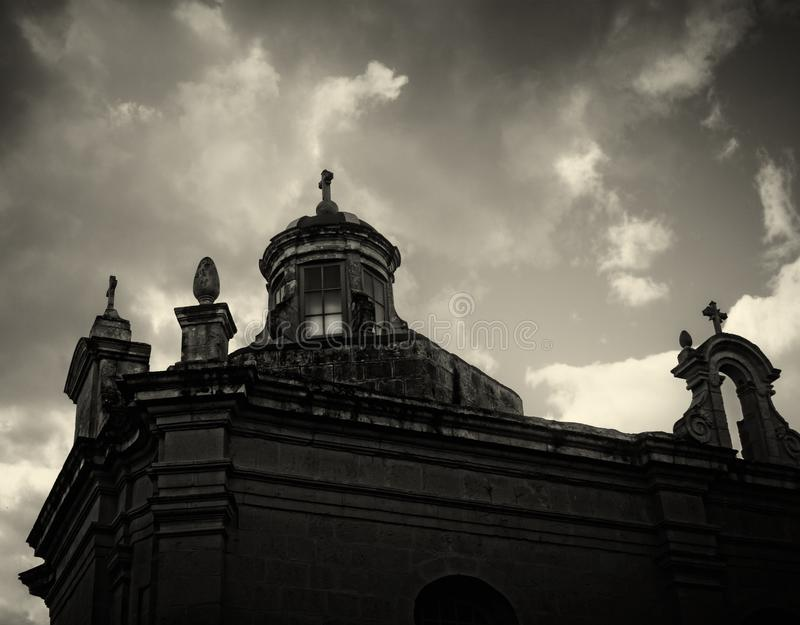 Old Gothic Churches in Rabat, Malta. In black and white stock images