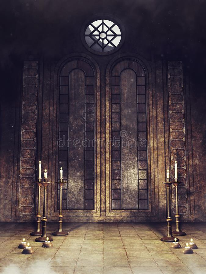 Gothic crypt with candelabras. Old gothic crypt with candles and candelabras royalty free illustration