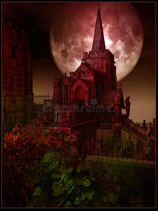 Old gothic crypt. And cementery royalty free illustration