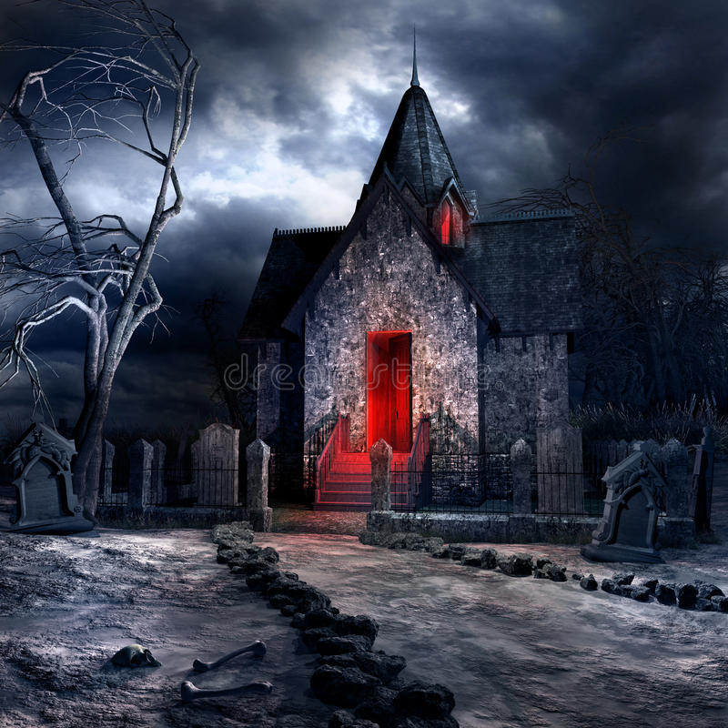 Old gothic crypt. Dark gothic scenery with old crypt, creepy tree and bones vector illustration