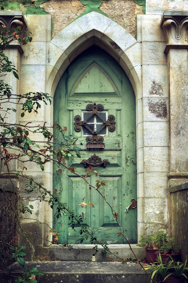 Download Old Gothic Door stock photo. Image of abandoned, decoration - 63073926