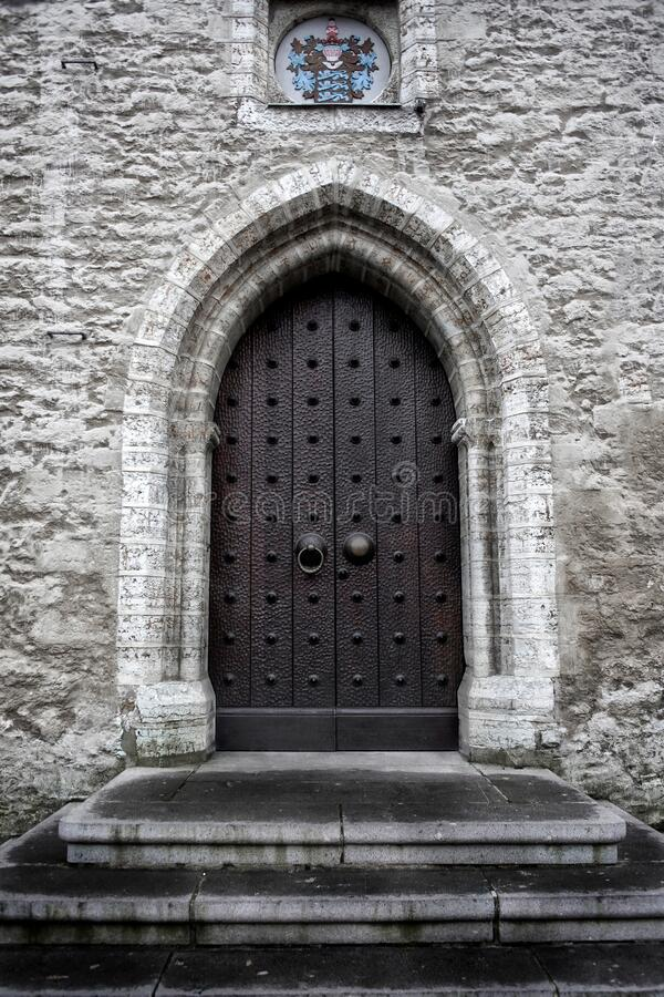 Old gothic doors in a draenei castle.  stock image