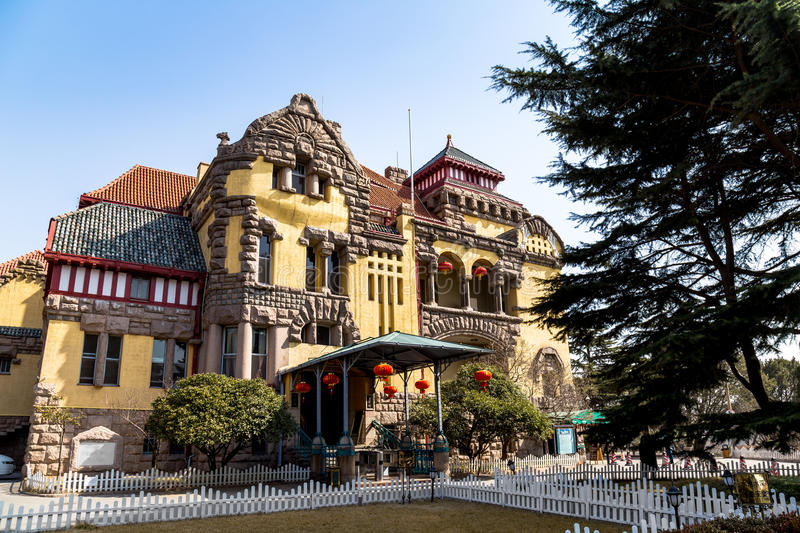 Old Governor`s House in Qingdao, China. Old Governor`s House from the German Colonial era in Qingdao, China royalty free stock photo