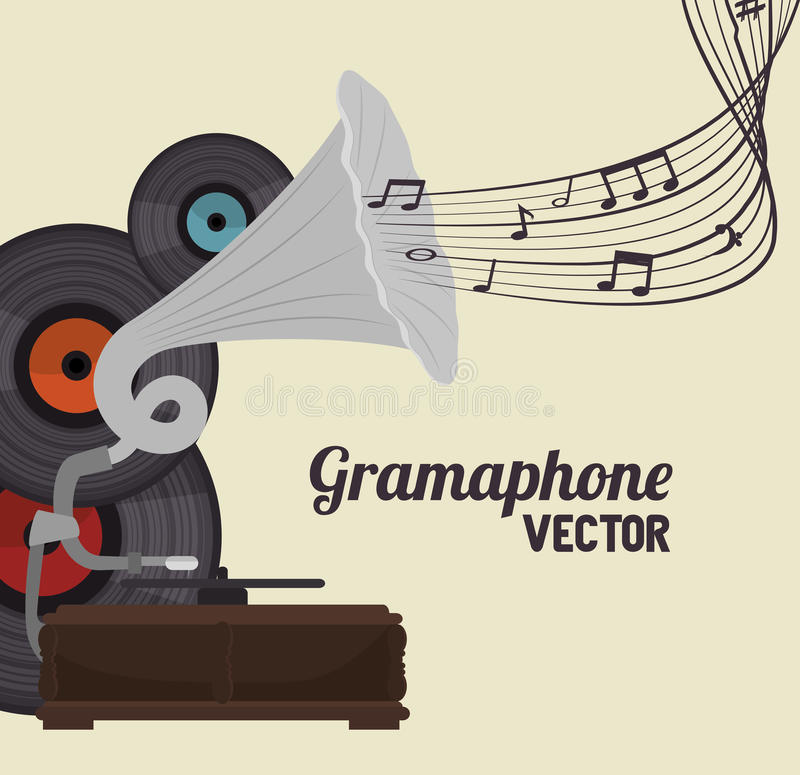 old gramophone isolated icon design stock illustration