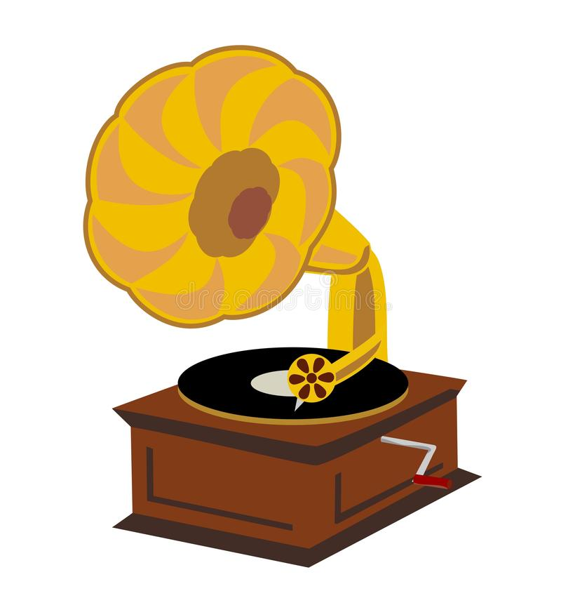 Old gramophone isolated on a white background royalty free illustration