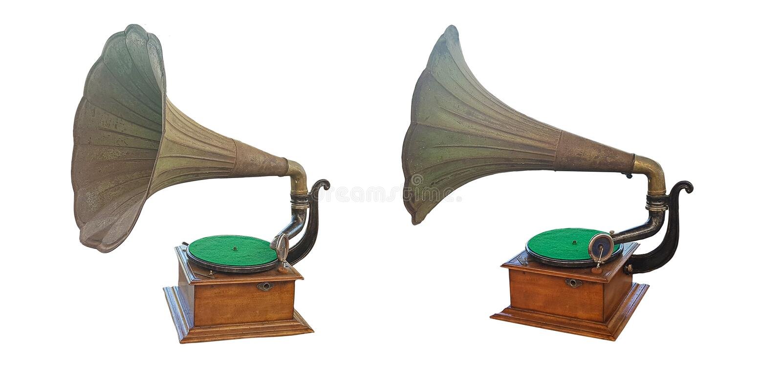 Old gramophone with plate and horn speaker on wooden box on white background. Old gramophone with plate and horn speaker on wooden box isolated on white royalty free stock photography