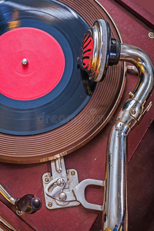 Old gramophone up view very close up royalty free stock images