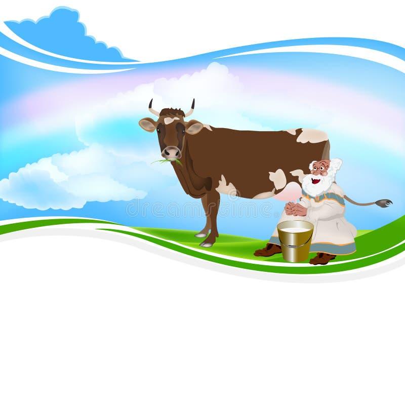 Download Old Grandpa milkman stock vector. Image of farm, brown - 33238125