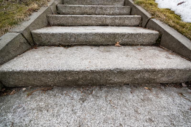 Old granite staircase stock images