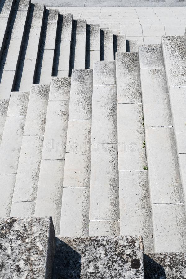 Old granite stone stairway, part of WWI landmark in Slovenia. Old granite stone stairway, part of WWI landmark, an ossuary above Kobarid in Slovenia stock photo