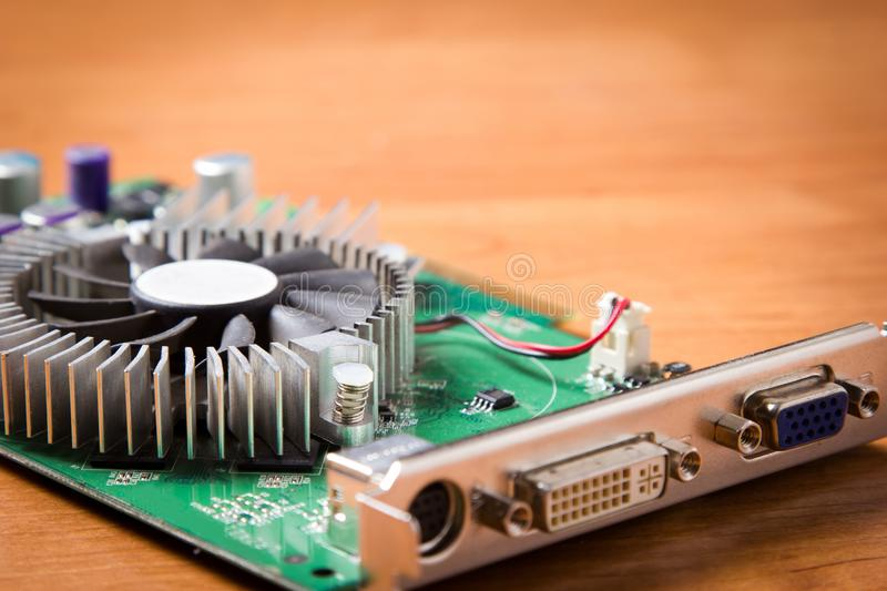 Old graphics card from the computer royalty free stock photo
