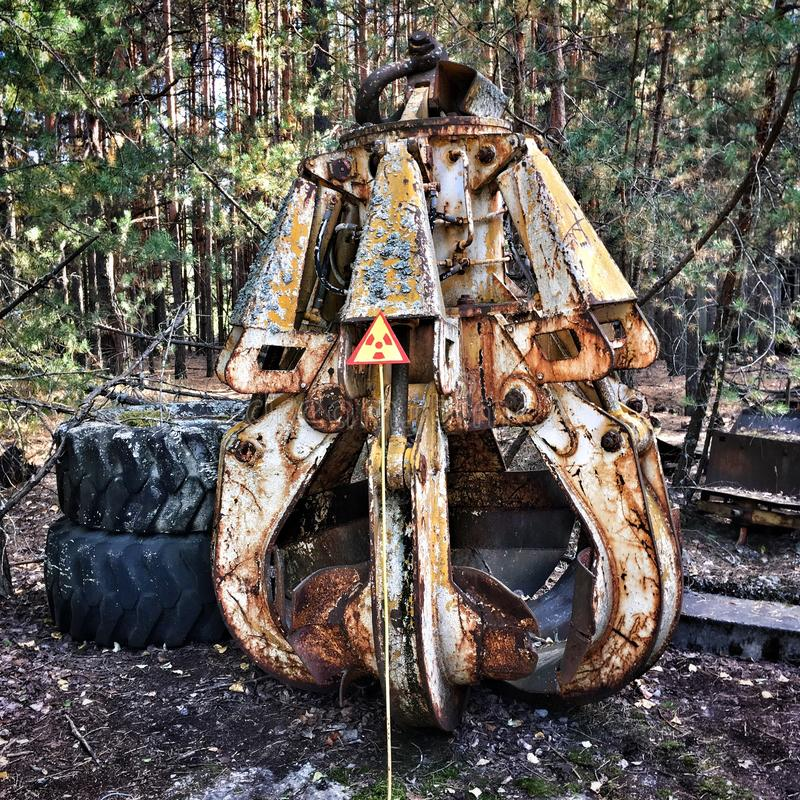 Old grapple. Radioactive grapple in Prypiat city, Chernobyl Exclusion zone stock images