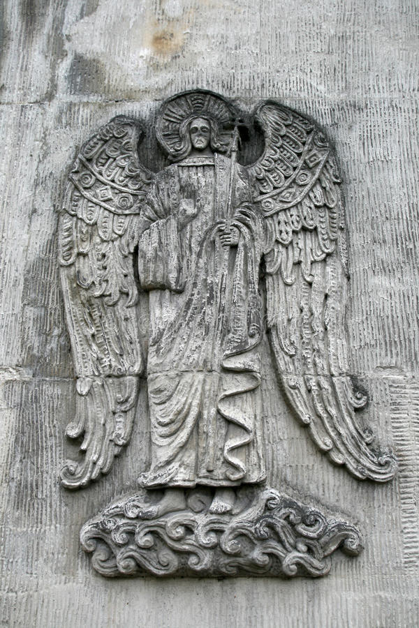 Old grave angel. In monastery in Moscow Russia royalty free stock images