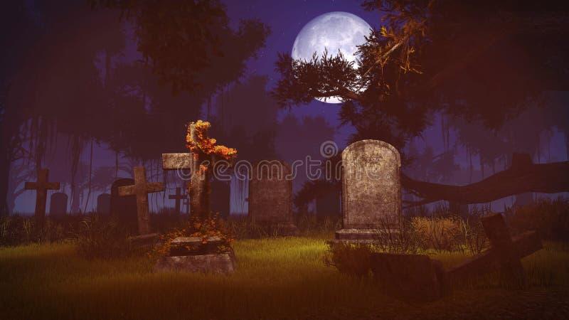 Old gravestones under big full moon stock illustration
