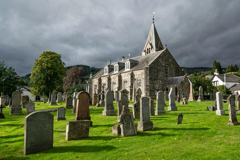 Old graveyard in Pitlochry, Scotland stock photos