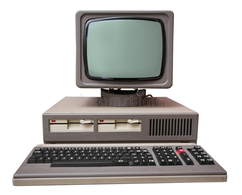 Old gray computer royalty free stock photo