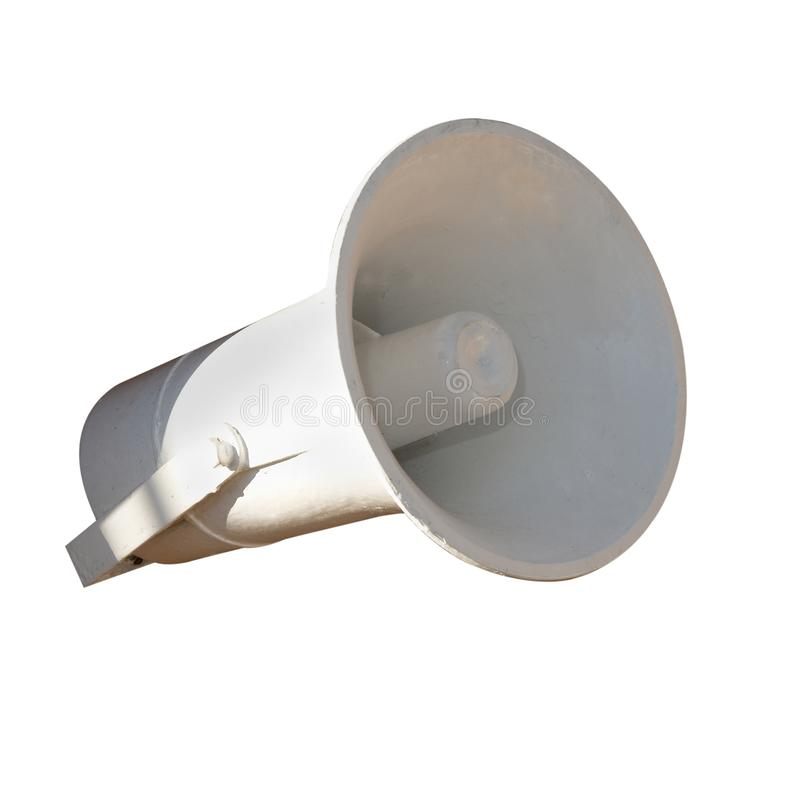Old gray horn. Old horn, megaphone isolated on the white background royalty free stock photos