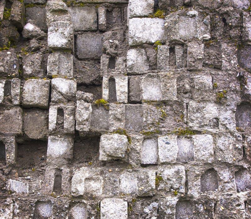 Old gray moss-covered brick wall royalty free stock photos
