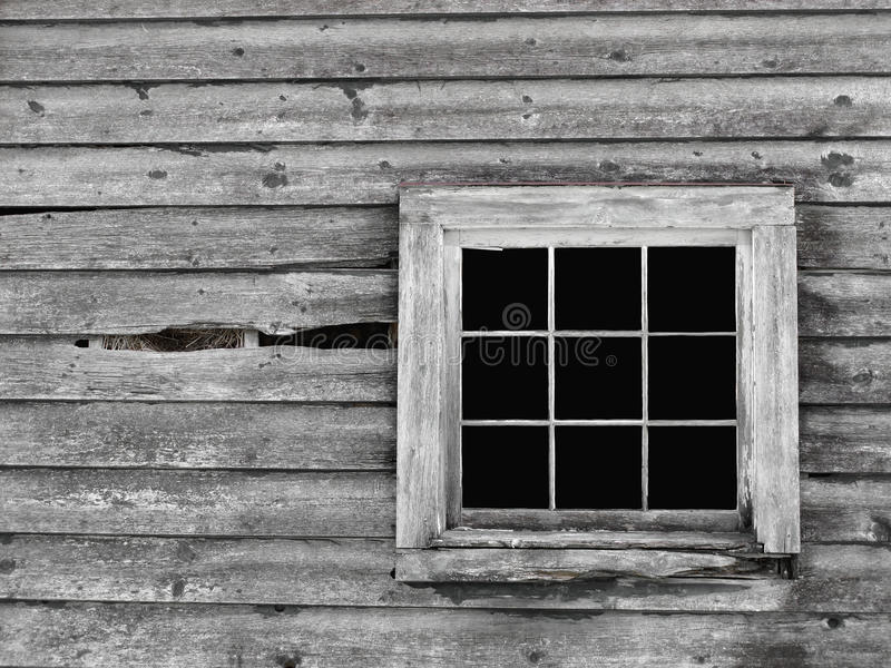 Old gray wood wall with window background. stock image