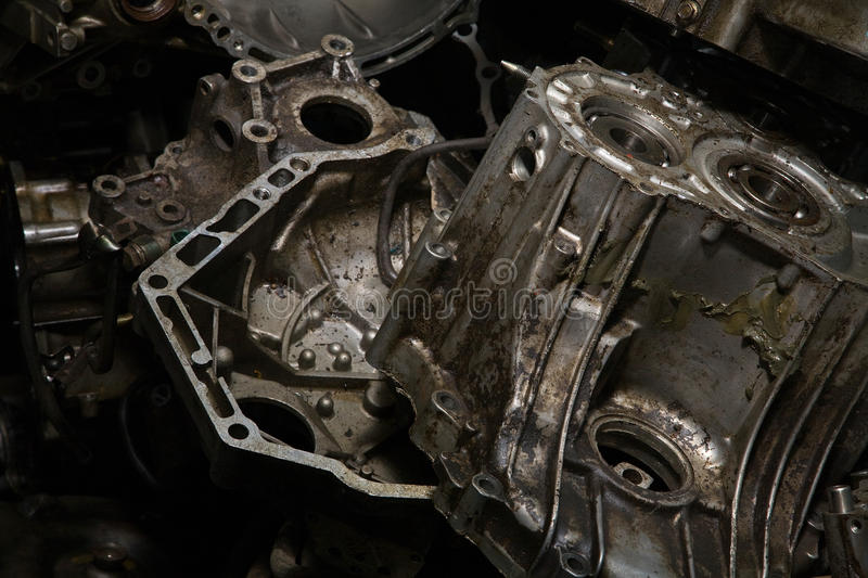 Old greasy engine. Virtually rubbish royalty free stock photos