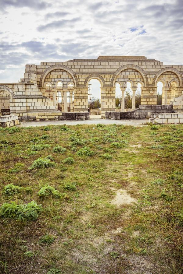 The Old Great Basilica in Pliska. The largest in Medieval Southeast Europe. stock image