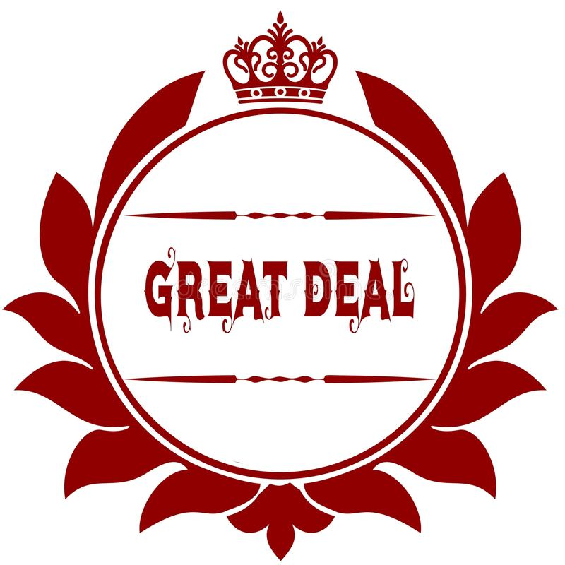 Old GREAT DEAL red seal. royalty free illustration
