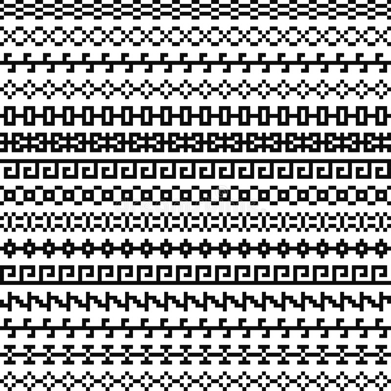 Old greek border, Tribal vintage ethnic seamless pattern, asian lattice ornaments, chinese, japanese, korean vector set. Old greek border, Tribal art vintage vector illustration