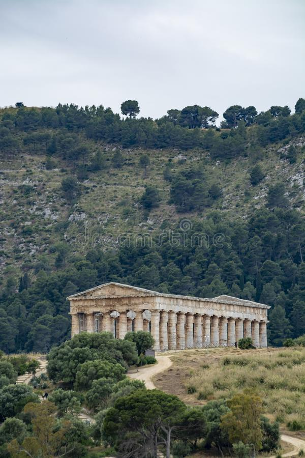Old Greek Doric temple of Segesta, Sicily, Italy royalty free stock image