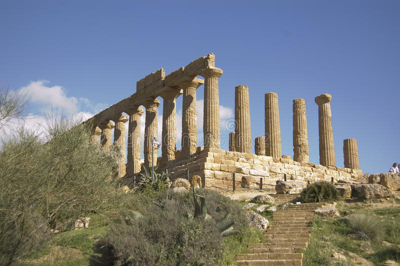 Old greek temple. A greek temple in the temple's valley in Agrigento, Sicily, Italy royalty free stock photo