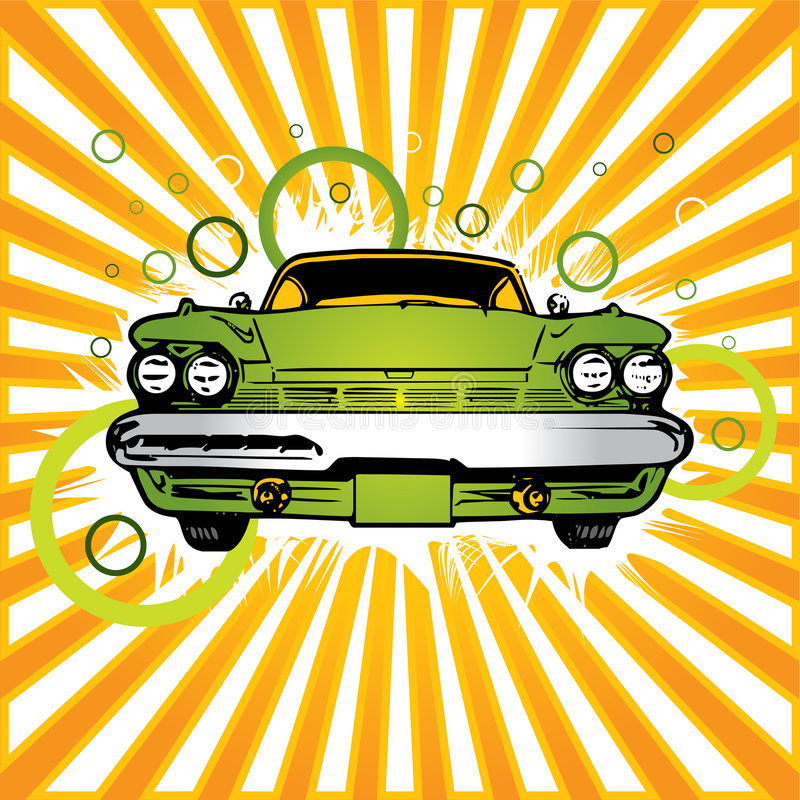 Old green car. Getting washed in car care center vector illustration