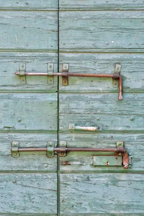 Old green door stock photos