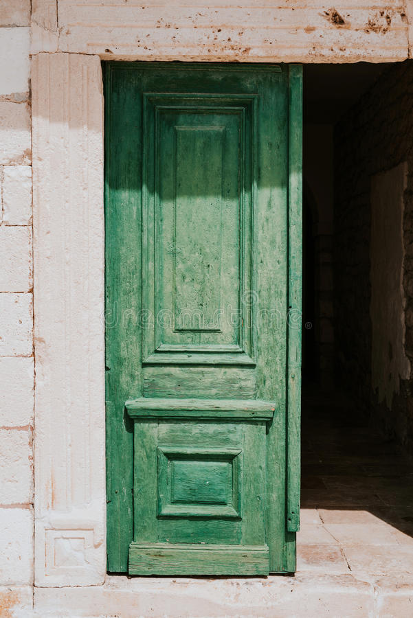 Old green dors royalty free stock photo