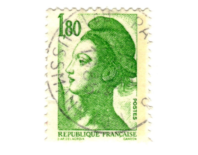 Download Old green french stamp stock photo. Image of think, france - 6957554