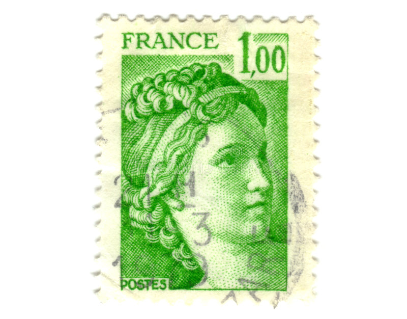Old green french stamp. Old green french postage stamp stock image