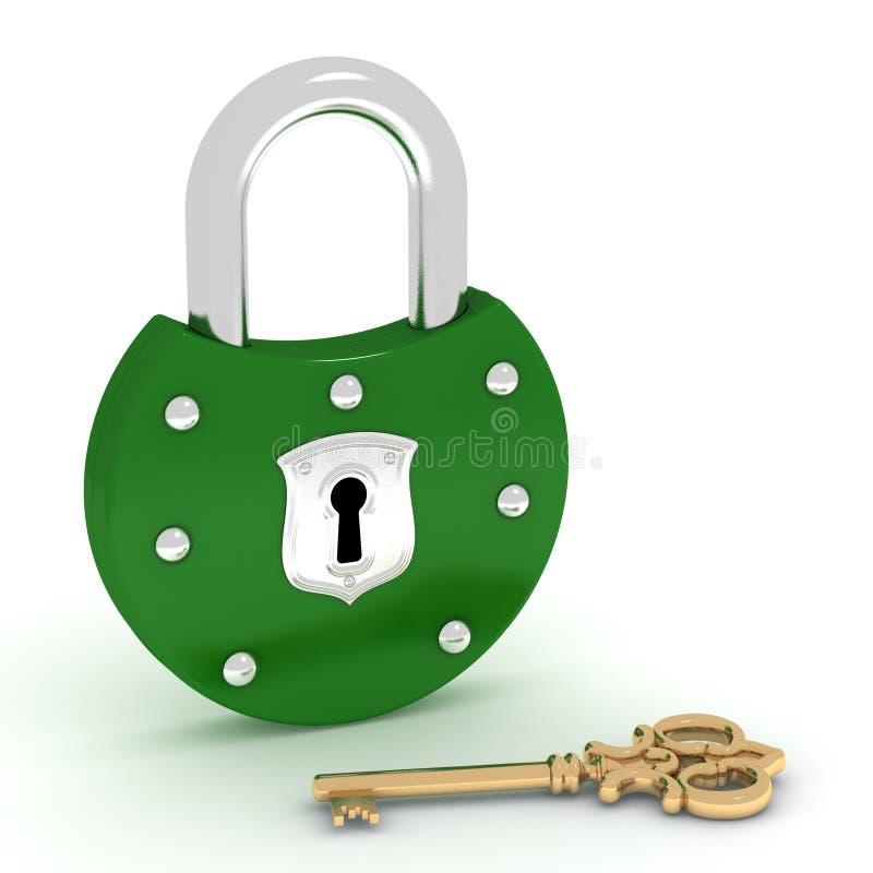 Download Old Green Padlock And Gold Key Stock Illustration - Image: 19445690