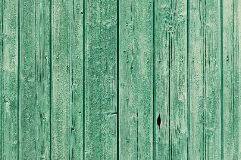 Old Green Painted Weathered Wooden Planks Royalty Free