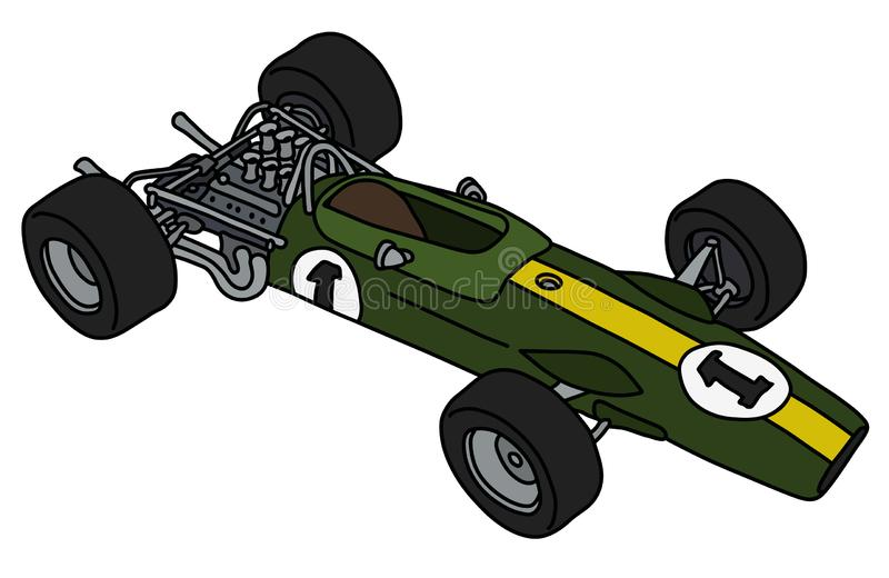 The old green racecar stock illustration