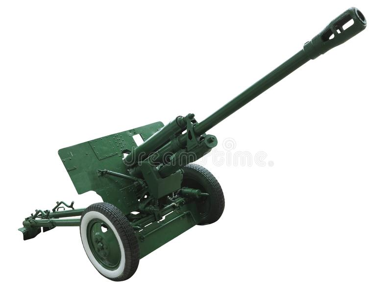 Old green russian artillery field cannon gun isolated on white background stock image