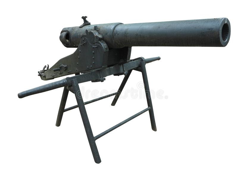 Old green russian artillery field cannon gun isolated on white background royalty free stock image