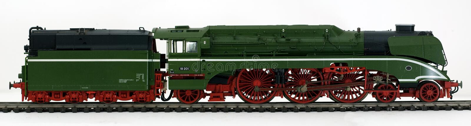 Old green steam locomotive stock images