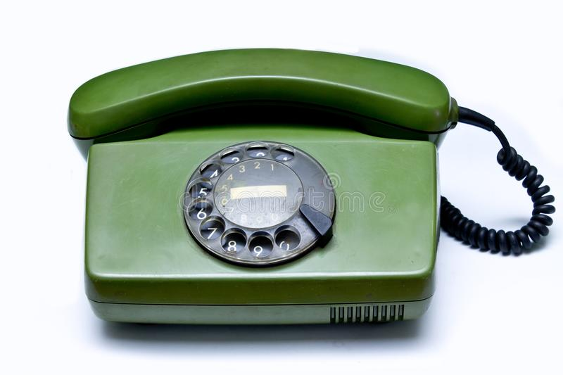 Old green telephone stock photo